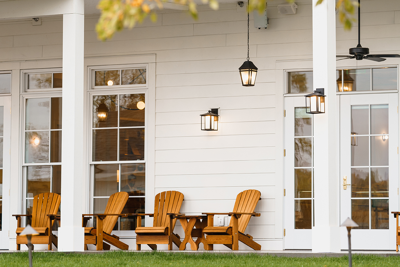 Adirondack chairs on porch